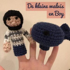 gehaakte vingerpoppetjes boy en de walvis