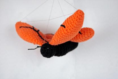 oranje gehaakte vlinder uit het boek huis van harry