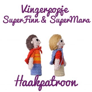 Productfoto vingerpoppetje superfinn en supermara haakpatroon